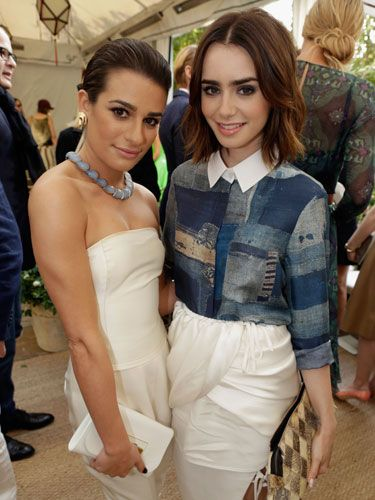 "<p>Hair girl crush of the day <a href=""http://www.cosmopolitan.co.uk/beauty-hair/news/styles/celebrity/lily-collins-new-bob-hairstyle"" target=""_blank"">Lily Collins</a> and Glee's Lea Michele looked glamourous and girly, with Lea wearing a Calvin Klein cream strapless jumpsuit. </p> <p><a href=""http://www.cosmopolitan.co.uk/fashion/news/kate-bosworth-aw13-topshop-collection"" target=""_blank"">KATE BOSWORTH X TOPSHOP: THE COLLECTION</a></p> <p><a href=""http://www.cosmopolitan.co.uk/fashion/celebrity/q-awards-best-dressed"" target=""_blank"">BEST DRESSED AT THE Q AWARDS</a></p> <p><a href=""http://www.cosmopolitan.co.uk/fashion/celebrity/celebrity-engagement-rings#fbIndex1"" target=""_blank"">CELEBRITY ENGAGEMENT RINGS</a></p>"