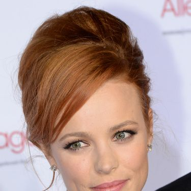 <p>Rachel McAdams' high hair and Bambi mascara make the perfect marriage. The odd wispy strands keep it cool, not just chic.</p>
