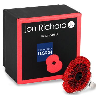 <p>Why not try something a little different, like this gorgeous red poppy ring from Jon Richard?</p>