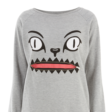 """<p>Now the big freeze is here, it's time to invest in some souped-up sweats to look hot, even when it's NOT. This grey marl sweat will go with everything, and besides: IT HAS A FACE WITH A ZIPPER MOUTH. Yes.</p><p>Cat zip mouth sweater, £16.99, <a href=""""http://www.internacionale.com/new-in-womens/grey-cat-zip-mouth-sweat/invt/161427gry"""" target=""""_blank"""">internacionale.com</a></p><p><a href=""""http://www.cosmopolitan.co.uk/fashion/shopping/womens-clothing-under-ten-pounds"""" target=""""_blank"""">Shop daily fashion finds for £10 or less</a></p><p><a href=""""http://www.cosmopolitan.co.uk/fashion/shopping/investment-winter-coats"""" target=""""_blank"""">10 winter coats worth investing in</a></p><p><a href=""""http://www.cosmopolitan.co.uk/fashion/winter-fashion-trends-2013/"""" target=""""_blank"""">See the latest winter fashion trends 2013</a></p>"""