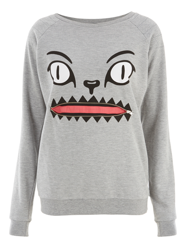 """<p>Now the big freeze is here, it's time to invest in some souped-up sweats to look hot, even when it's NOT. This grey marl sweat will go with everything, and besides: IT HAS A FACE WITH A ZIPPER MOUTH. Yes.</p> <p>Cat zip mouth sweater, £16.99, <a href=""""http://www.internacionale.com/new-in-womens/grey-cat-zip-mouth-sweat/invt/161427gry"""" target=""""_blank"""">internacionale.com</a></p> <p><a href=""""http://www.cosmopolitan.co.uk/fashion/shopping/womens-clothing-under-ten-pounds"""" target=""""_blank"""">Shop daily fashion finds for £10 or less</a></p> <p><a href=""""http://www.cosmopolitan.co.uk/fashion/shopping/investment-winter-coats"""" target=""""_blank"""">10 winter coats worth investing in</a></p> <p><a href=""""http://www.cosmopolitan.co.uk/fashion/winter-fashion-trends-2013/"""" target=""""_blank"""">See the latest winter fashion trends 2013</a></p>"""