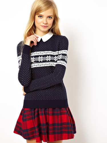 """<p>A preppy take on the perennial Christmas jumper. Team with a tartan skirt and patent loafers.</p> <p>Snowflake Christmas jumper with collar, £35, <a href=""""http://www.asos.com/ASOS/ASOS-Christmas-Jumper-In-Snowflake-Pattern-With-Collar/Prod/pgeproduct.aspx?iid=3422626&cid=2637&sh=0&pge=0&pgesize=204&sort=-1&clr=Navy"""" target=""""_blank"""">asos.com</a></p> <p><a href=""""http://www.cosmopolitan.co.uk/fashion/shopping/christmas-jumpers-2013-primark-womens"""" target=""""_blank"""">PRIMARK'S CHRISTMAS JUMPERS ARE HERE!</a></p> <p><a href=""""http://www.cosmopolitan.co.uk/fashion/shopping/fluffy-jumpers-winter-fashion-trend"""" target=""""_blank"""">FIVE OF THE BEST FLUFFY JUMPERS</a></p> <p><a href=""""http://www.cosmopolitan.co.uk/fashion/shopping/investment-winter-coats"""" target=""""_blank"""">10 WINTER COATS WORTH INVESTING IN</a></p>"""