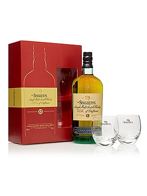 "<p>The Singleton of Dufftown 12 Year Old whisky and branded glassware pack is a real treat for any whisky fan. And there's two chunky based tumblers to help the 12 year old whisky go down even smoother.</p> <p>The Singleton of Dufftown Whiskey set, £34.95, <a href=""http://www.thewhiskyexchange.com/P-18274.aspx"" target=""_blank"">thewhiskeyexchange.com</a></p>"