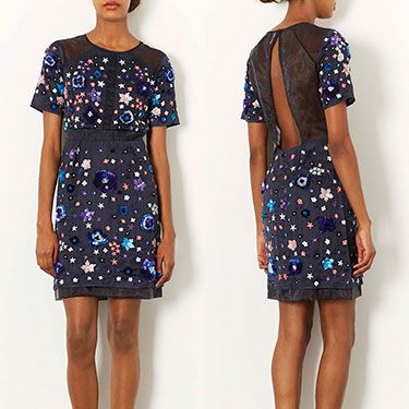 <p>This dream of a dress is wonderfully embellished front to back with colourful gems, whilst the cut out detail at the back is subtle yet sexy&#x3B; a true Gossip Girl Blair Waldorf style frock, perfect for dancing the night away this season!</p>