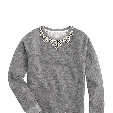 """<p>""""A comfy terry sweatshirt with the statement necklace built right in.""""</p><p>Bib necklace sweatshirt, £98, <a href=""""http://www.jcrew.com/womens_special_sizes/xxl/Knits/PRD~07590/07590.jsp"""" target=""""_blank"""">jcrew.com</a></p><p><a href=""""http://www.cosmopolitan.co.uk/fashion/news/j-crew-open-london-stores-uk"""" target=""""_blank"""">J Crew comes to the UK (at last)</a></p><p><a href=""""http://www.cosmopolitan.co.uk/fashion/shopping/nyfw-street-style#fbIndex1"""" target=""""_blank"""">See New York Fashion Week street style</a></p><p><a href=""""http://www.cosmopolitan.co.uk/fashion/shopping/investment-winter-coats"""" target=""""_blank"""">10 winter coats worth investing in</a></p>"""