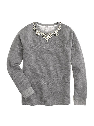 """<p>""""A comfy terry sweatshirt with the statement necklace built right in.""""</p> <p>Bib necklace sweatshirt, £98, <a href=""""http://www.jcrew.com/womens_special_sizes/xxl/Knits/PRD~07590/07590.jsp"""" target=""""_blank"""">jcrew.com</a></p> <p><a href=""""http://www.cosmopolitan.co.uk/fashion/news/j-crew-open-london-stores-uk"""" target=""""_blank"""">J Crew comes to the UK (at last)</a></p> <p><a href=""""http://www.cosmopolitan.co.uk/fashion/shopping/nyfw-street-style#fbIndex1"""" target=""""_blank"""">See New York Fashion Week street style</a></p> <p><a href=""""http://www.cosmopolitan.co.uk/fashion/shopping/investment-winter-coats"""" target=""""_blank"""">10 winter coats worth investing in</a></p>"""