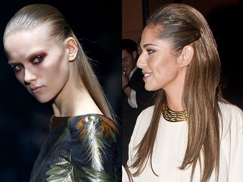 """<p>This is THE coolest look of the season and the Gucci catwalks and <a href=""""http://www.cosmopolitan.co.uk/beauty-hair/news/styles/celebrity/cheryl-cole-kimberley-walsh-straight-hair-trend"""" target=""""_blank"""">Cheryl Cole</a> are fine examples why. Go for straight, not flat, and arm yourself with oil or shine spray for a glass finish.<br /><strong></strong></p> <p><strong>How to:</strong><br />Use straightening irons like the new Nicky Clarke Mayfair Allure Straightener (£29.99) which have tourmaline and ceramic technology. While you straighten from root to tip, tourmaline locks in your hair's natural moisture, leaving your hair sleek and smooth whilst the ceramic technology gives your hair that gorgeous shine. Get height at the roots by backcombing and smooth it over with a paddle brush for a sleek finish.</p>"""