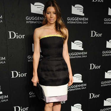 <p>Jessica Biel attended the Guggenheim International Gala in New York City on Thursday. She wore a cool Christian Dior strapless black and white dress with pops of yellow and lilac. However, we're all about her to-die-for Dior accessories: Granville opal earrings and dual-colour yellow-and-pink pumps. YUM.</p>