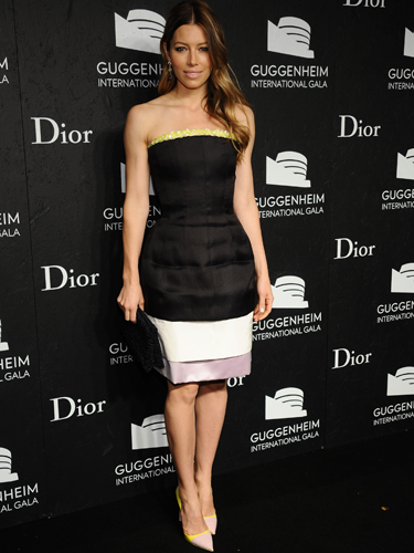 "<p>Jessica Biel attended the Guggenheim International Gala in New York City on Thursday. She wore a cool Christian Dior strapless black and white dress with pops of yellow and lilac. However, we're all about her to-die-for Dior accessories: Granville opal earrings and dual-colour yellow-and-pink pumps. YUM.</p> <p><a href=""http://www.cosmopolitan.co.uk/fashion/love/"" target=""_blank"">VOTE ON CELEBRITY STYLE</a></p> <p><a href=""http://www.cosmopolitan.co.uk/fashion/shopping/womens-clothing-under-ten-pounds"" target=""_blank"">SHOP WOMEN'S FASHION FOR £10 OR LESS</a></p> <p><a href=""http://www.cosmopolitan.co.uk/fashion/celebrity/"" target=""_blank"">SEE THE LATEST CELEBRITY TRENDS</a></p>"
