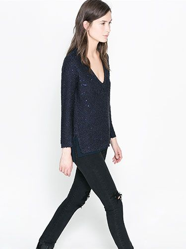 "<p>If you're looking for a subtle way to inject a bit of sparkle into your wardrobe then this sequin jumper from Zara is the perfect way. Pair with black jeans and leather ankle boots for a tough yet glam look.</p> <p>Sequinned sweater, £45.99, <a href=""http://www.zara.com/uk/en/new-this-week/woman/sequinned-sweater-c287002p1368039.html"" target=""_blank"">Zara</a></p> <p><a href=""http://www.cosmopolitan.co.uk/fashion/shopping/christmas-party-dresses-investment"" target=""_blank"">COSMO'S TOP TEN DREAMY PARTY DRESSES</a></p> <p><a href=""http://www.cosmopolitan.co.uk/fashion/shopping/j-crew-uk-store"" target=""_blank"">JOIN THE J-CREW</a></p> <p><a href=""http://www.cosmopolitan.co.uk/fashion/shopping/celebrity-winter-coat-inspiration"" target=""_blank"">WINTER COAT INSPIRATION </a><br /><br /></p>"