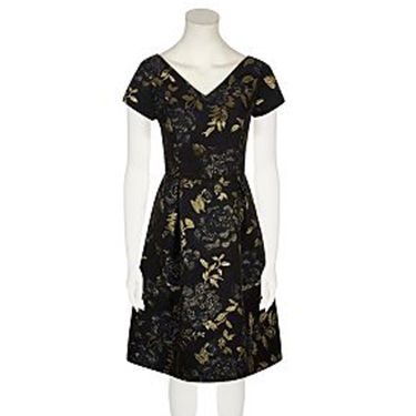 <p>This opulent, printed dress looks a lot grander than the price tag would suggest. Wear with gold jewellery to complement the jacquard detail.</p>