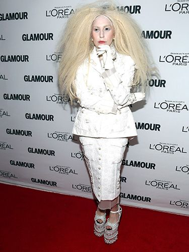"<p>For her appearance at this year's Glamour Women of the Year Awards in New York, Lady Gaga showed up in head-to-toe white. And yes, of course, that includes eyebrows, eyelashes, and hairline.</p> <p><a href=""http://www.cosmopolitan.co.uk/celebs/entertainment/lady-gaga-marijuana-addiction"" target=""_blank"">LADY GAGA TALKS ADDICTION</a></p> <p><a href=""http://www.cosmopolitan.co.uk/celebs/entertainment/lady-gaga-naked-gay-nightclub?click=main_sr"" target=""_blank"">LADY GAGA GETS COMPLETELY NAKED AT G-A-Y NIGHTCLUB</a></p> <p><a href=""http://www.cosmopolitan.co.uk/celebs/celebrity-gossip/lady-gaga-neck-tattoo-rio?click=main_sr"" target=""_blank"">GAGA SHOWS OFF BRAND NEW NECK TATTOO</a></p>"