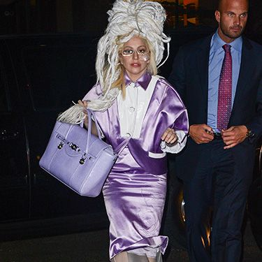 <p>Isn't this what you would wear to SNL rehearsals? Lady Gaga looked lovely (er, sort of) in lavender and a dreadlock wig on her way to the show's studio.</p>