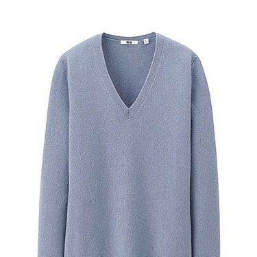 """<p>Uniqlo is great value when it comes to cashmere, especially with its extensive colour palette. This grey-blue hue is warm without being overtly wintery. Pair with black skinny jeans and Nike trainers for a chic on-the-go look.</p><p>Cashmere v-neck sweater, £59.99, <a href=""""http://www.uniqlo.com/uk/store/goods/078065#thumbnailSelect"""" target=""""_blank"""">Uniqlo</a></p><p><a href=""""http://www.cosmopolitan.co.uk/fashion/shopping/new-in-store-11-november"""" target=""""_blank"""">NEW IN STORE THIS WEEK</a></p><p><a href=""""http://www.cosmopolitan.co.uk/fashion/shopping/celebrity-winter-coat-inspiration"""" target=""""_blank"""">WINTER COAT INSPIRATION</a></p><p><a href=""""http://www.cosmopolitan.co.uk/fashion/shopping/christmas-party-dresses-investment"""" target=""""_blank"""">TEN INVESTMENT PARTY DRESSES </a></p>"""