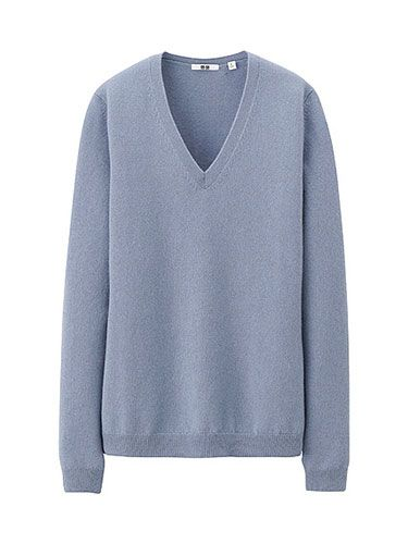 <p>Uniqlo is great value when it comes to cashmere, especially with its extensive colour palette. This grey-blue hue is warm without being overtly wintery. Pair with black skinny jeans and Nike trainers for a chic on-the-go look.</p>