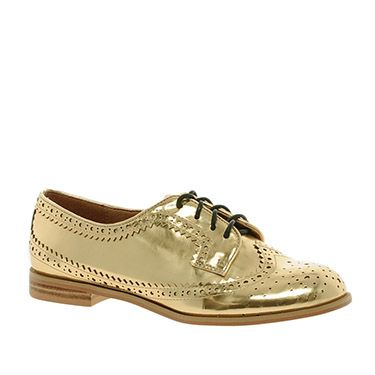<p>We're rather partial to a brogue, and while definitely not for wallflowers, these golden lace-ups are certainly festive. </p>