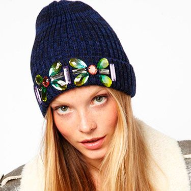 "<p>If you prefer your headwear to be a tad more feminine, rock the embellished look with this beanie.<br /><br />Embellished turn up beanie, £12, <a href=""http://www.asos.com/ASOS/ASOS-Embellished-Turn-Up-Beanie/Prod/pgeproduct.aspx?iid=3032997&cid=6449&sh=0&pge=0&pgesize=204&sort=-1&clr=Navy"" target=""_blank"">ASOS</a></p>