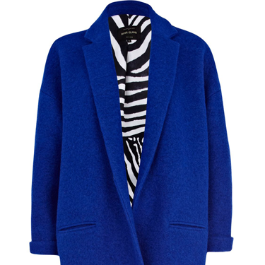 <p>Do it like a dude this season - on the outerwear front, anyway. We love this bright blue mannish overcoat, set to keep you snug and stylish.</p>