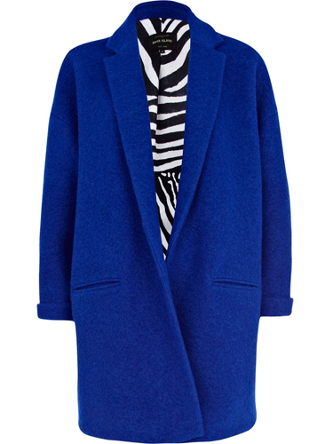 "<p>Do it like a dude this season - on the outerwear front, anyway. We love this bright blue mannish overcoat, set to keep you snug and stylish.</p> <p>Oversized coat, £80, <a href=""http://www.riverisland.com/women/coats--jackets/coats/Blue-oversized-coat-645249"" target=""_blank"">riverisland.com</a></p> <p><a href=""http://www.cosmopolitan.co.uk/fashion/shopping/womens-clothing-under-ten-pounds"" target=""_blank"">Shop daily fashion finds for £10 or less</a></p> <p><a href=""http://www.cosmopolitan.co.uk/fashion/shopping/thigh-high-boots"" target=""_blank"">Shop the thigh-high boot trend</a></p> <p><a href=""http://www.cosmopolitan.co.uk/fashion/news/"" target=""_blank"">Get the latest fashion news</a></p>"