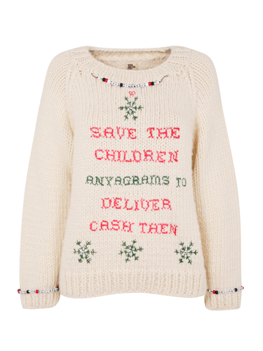 <p>Say it with a Christmas jumper, courtesy of Anya Hindmarch's cross-stitch design.</p>