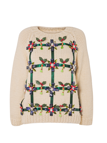 <p>Mary Katranzou has decked her jumper with boughs of holly.</p>
