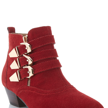 """<p>Punk up your look with this scarlet style. With buckles and points, they'll toughen up the girliest of looks.</p><p>Sueded buckle boots, £69.99, <a href=""""http://www.missselfridge.com/en/msuk/product/shoes-299049/boots-299074/nox-suede-red-buckle-boot-2301951?bi=1&ps=40"""" target=""""_blank"""">missselfridge.com</a></p><p><a href=""""http://www.cosmopolitan.co.uk/fashion/shopping/thigh-high-boots"""" target=""""_blank"""">SHOP THE THIGH-HIGH BOOT TREND</a></p><p><a href=""""http://www.cosmopolitan.co.uk/fashion/shopping/christmas-party-best-flat-shoes"""" target=""""_blank"""">12 FABULOUS PARTY FLATS</a></p><p><a href=""""http://www.cosmopolitan.co.uk/fashion/shopping/christmas-party-high-heel-shoes"""" target=""""_blank"""">THE HOTTEST PARTY HEELS</a></p>"""