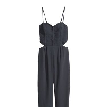 """<p>If you fear a black jumpsuit might be too formal, this H&M style has sexy cut-outs to rev things up a notch. Sky-scraper heels and a swipe of red lippy are all you need to add.</p><p>Cut-out jumpsuit, £29.99, <a href=""""http://www.hm.com/gb/product/21227?article=21227-B"""" target=""""_blank"""">hm.com</a></p><p><a href=""""http://www.cosmopolitan.co.uk/fashion/shopping/cheap-christmas-party-dresses"""" target=""""_blank"""">SHOP PARTY DRESSES FOR £25 OR LESS</a></p><p><a href=""""http://www.cosmopolitan.co.uk/fashion/shopping/christmas-party-best-flat-shoes"""" target=""""_blank"""">12 FABULOUS FLATS TO DANCE ALL NIGHT IN</a></p><p><a href=""""http://www.cosmopolitan.co.uk/fashion/celebrity/"""" target=""""_blank"""">GET CELEBRITY STYLE INSPIRATION</a></p>"""