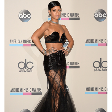 """<p>OK, so technically this is a skirt not a dress. But it <em>is</em> sheer, and super sexy. Handily, RiRi's gothic number had a sequin panel to cover her modesty (not that she would have cared) plus loads of flowing lace.</p><p>You can recreate her look by wearing a sheer maxi skirt over some sequin hot-pants. But, unlike RiRi, you might want to put a top on...</p><p><em><strong>Try</strong>: Gossard high-waist sequin shorts, £13.20, <a href=""""http://www.debenhams.com/webapp/wcs/stores/servlet/prod_10701_10001_152010885160?CMP=SSH&tmcampid=28&tmad=c&sku=7430791&gclid=CJOdrs_5grsCFUjjwgodpRUAcA"""" target=""""_blank"""">debenhams.com</a></em></p><p><a href=""""http://www.cosmopolitan.co.uk/fashion/celebrity/american-music-awards-2013-best-dressed"""" target=""""_blank"""">BEST-DRESSED CELEBS FROM THE AMAS 2013</a></p><p><a href=""""http://www.cosmopolitan.co.uk/fashion/celebrity/x-factor-outfits-2013"""" target=""""_blank"""">SEE: X FACTOR OUTFITS FROM THE LIVE SHOWS</a></p><p><a href=""""http://www.cosmopolitan.co.uk/fashion/news/"""" target=""""_blank"""">GET THE LATEST FASHION AND STYLE NEWS</a></p>"""