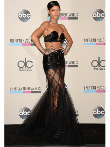 "<p>OK, so technically this is a skirt not a dress. But it <em>is</em> sheer, and super sexy. Handily, RiRi's gothic number had a sequin panel to cover her modesty (not that she would have cared) plus loads of flowing lace.</p> <p>You can recreate her look by wearing a sheer maxi skirt over some sequin hot-pants. But, unlike RiRi, you might want to put a top on...</p> <p><em><strong>Try</strong>: Gossard high-waist sequin shorts, £13.20, <a href=""http://www.debenhams.com/webapp/wcs/stores/servlet/prod_10701_10001_152010885160?CMP=SSH&tmcampid=28&tmad=c&sku=7430791&gclid=CJOdrs_5grsCFUjjwgodpRUAcA"" target=""_blank"">debenhams.com</a></em></p> <p><a href=""http://www.cosmopolitan.co.uk/fashion/celebrity/american-music-awards-2013-best-dressed"" target=""_blank"">BEST-DRESSED CELEBS FROM THE AMAS 2013</a></p> <p><a href=""http://www.cosmopolitan.co.uk/fashion/celebrity/x-factor-outfits-2013"" target=""_blank"">SEE: X FACTOR OUTFITS FROM THE LIVE SHOWS</a></p> <p><a href=""http://www.cosmopolitan.co.uk/fashion/news/"" target=""_blank"">GET THE LATEST FASHION AND STYLE NEWS</a></p>"