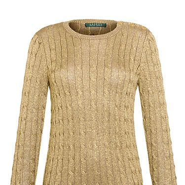 """<p>There is nothing more chic than an understated metallic jumper for winter. Unless of course that metallic jumper also happens to be cable knit. Perfection.</p><p>Lauren by Ralph Lauren Long-Sleeved Metallic Crewneck, £105, <a href=""""http://www.johnlewis.com/lauren-by-ralph-lauren-long-sleeved-metallic-crewneck-imperial-gold/p857285#default"""" target=""""_blank"""">johnlewis.com</a></p><p><a href=""""http://www.cosmopolitan.co.uk/fashion/shopping/womens-clothing-under-ten-pounds"""" target=""""_blank"""">SHOP: PHONE-FRIENDLY GLOVES</a></p><p><a href=""""http://www.cosmopolitan.co.uk/fashion/shopping/what-to-wear-this-week-18-11-13"""" target=""""_blank"""">NEW IN STORE NOW</a></p><p><a href=""""http://www.cosmopolitan.co.uk/fashion/shopping/top-five-beanie-hats-for-women"""" target=""""_blank"""">5 HOT BEANIE HATS</a></p>"""
