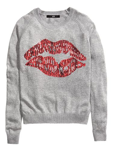 "<p>Take inspiration from Mick Jagger and Angelina by showing off your massive pair of lips - in the form of this sparkly jumper!</p> <p>Knitted jumper, £14.99, <a href=""http://www.hm.com/gb/product/18786?article=18786-A"" target=""_blank"">hm.com</a></p> <p><a href=""http://www.hm.com/gb/product/18786?article=18786-A"" target=""_blank"">ELLIE GOULDING'S FASHION FORWARD LOOKS</a></p> <p><a href=""http://www.cosmopolitan.co.uk/fashion/shopping/christmas-party-dresses-secret-shapewear"" target=""_blank"">PARTY DRESSES WITH SECRET SHAPEWEAR</a></p> <p><a href=""http://www.cosmopolitan.co.uk/fashion/shopping/christmas-party-best-flat-shoes"" target=""_blank"">12 FABULOUS FLATS</a></p>"