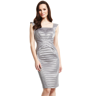 "<p>Ooh, ain't this sexy silver satin number so <span class=""st"">Hervé Léger</span>-inspired?! Not only does it look deliciously designer, but the Secret Support lining sculpts and smooths, giving you a figure as killer as the frock.</p>