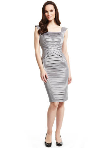 "<p>Ooh, ain't this sexy silver satin number so <span class=""st"">Hervé Léger</span>-inspired?! Not only does it look deliciously designer, but the Secret Support lining sculpts and smooths, giving you a figure as killer as the frock.</p> <p>Drop a Dress Size Satin Pleated Dress with Secret Support, £89, <a href=""http://www.marksandspencer.com/Collection-Shutter-Pleated-Secret-Support/dp/B002RHAJU0?ie=UTF8&ref=sr_1_7&nodeId=1675696031&sr=1-7&qid=1385572412&pf_rd_r=1Q48VB1X2H1FXJH4P38S&pf_rd_m=A2BO0OYVBKIQJM&pf_rd_t=101&pf_rd_i=1675696031&pf_rd_p=321381387&pf_rd_s=related-items-3"" target=""_blank"">marksandspencer.com</a></p> <p><a href=""http://www.cosmopolitan.co.uk/fashion/celebrity/how-to-wear-sheer-dress"" target=""_blank"">CELEBS SHOW US HOW TO WEAR SHEER DRESSES</a></p> <p><a href=""http://www.cosmopolitan.co.uk/fashion/shopping/christmas-party-dress-2013-alternatives"" target=""_blank"">BEYOND THE LBD - PARTY DRESS ALTERNATIVES</a></p> <p><a href=""http://www.cosmopolitan.co.uk/fashion/news/"" target=""_blank"">GET THE LATEST FASHION AND STYLE NEWS</a></p>"