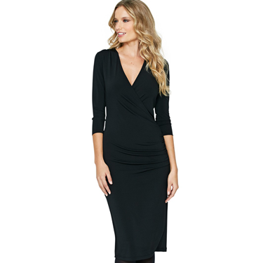 <p>If in doubt, don a Little Black Dress - and make it a sexy wrap style to flatter your figure. This clever number has a power mesh insert to give you extra support and create a smooth, sleek silhouette. And also - a dress with sleeves! Ideal if you're not confident in exposing your upper arms. The only thing it doesn't do is wrap your Christmas presents for you...</p>