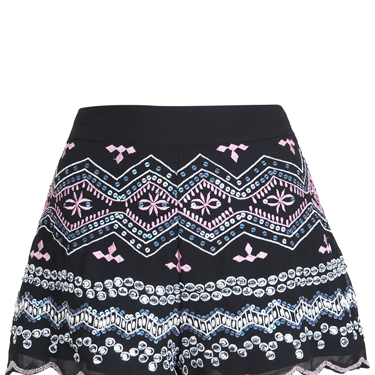 <p>When a Little Black dress juts won't do, why not try cute scalloped evening shorts instead? We love the embellished detail on this design.</p>