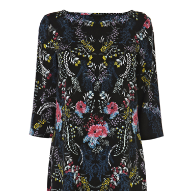 <p>This fancy floral dress is a beaut! A step up from your regular LBD, with the folk-inspired design, long sleeves and loose fit it will be your go-to dress come party season.</p>
