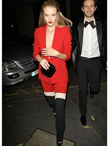 "<p>Rosie's colour-blocked ensemble was one of our most coveted last night; her red, white, and black tailored trouser suit is *everything*</p> <p><a href=""http://www.cosmopolitan.co.uk/fashion/celebrity/british-fashion-awards-2013-best-dressed"" target=""_blank"">BRITISH FASHION AWARDS BEST DRESSED</a></p> <p><a href=""http://www.cosmopolitan.co.uk/fashion/celebrity/x-factor-outfits-2013"" target=""_blank"">X FACTOR OUTFITS FROM THE LIVE SHOW</a></p> <p><a href=""http://www.cosmopolitan.co.uk/fashion/celebrity/little-mix-red-carpet-style-hacc"" target=""_blank"">LITTLE MIX ARE MAKING US SALIVATE</a></p>"