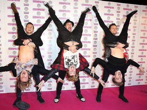 "<p>McBusted decided that the standard red carpet routine of pose and pout wasn't for them, so instead they pulled out this move. ""We've been at it again. We were feeling brave tonight...well, 3 of us were,"" they tweeted.</p> <p><a href=""http://www.cosmopolitan.co.uk/celebs/ultimate-women-of-the-year/cosmo-girl-party-fashion"" target=""_blank"">SEE COSMO'S PARTY STYLE</a></p> <p><a href=""http://www.cosmopolitan.co.uk/beauty-hair/news/trends/celebrity-beauty/cosmo-ultimate-women-awards-2013-celebrity-hairstyles-makeup"" target=""_blank"">KILLER HAIR AND MAKE-UP LOOKS AT THE COSMO AWARDS</a></p> <p><a href=""http://www.cosmopolitan.co.uk/celebs/ultimate-women-of-the-year/winners-list-2013"" target=""_blank"">THE COSMOS 2013: THE WINNERS</a></p>"