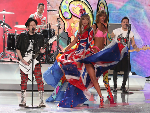 "<p>Oh, it's ALL going on here: T-Swizzle in all her Union Jack finery on stage with Fall Out Boy AND Karlie Kloss looking as impressed as we were at Swifty's 'swooshing' skills.</p> <p><a href=""http://www.cosmopolitan.co.uk/fashion/celebrity/best-dressed-victorias-secret-fashion-show"" target=""_blank"">Best dressed at the Victoria's Secret Fashion Show </a></p> <p><a href=""http://www.cosmopolitan.co.uk/fashion/news/cara-delevingne-victorias-secret-show-model"" target=""_blank"">Cara Delevingne: From gurner to sexy Victoria's Secret model </a></p> <p><a href=""http://www.cosmopolitan.co.uk/fashion/news/"" target=""_blank"">See the latest fashion and style news</a></p>"