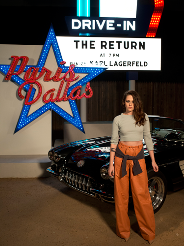 """<p>Kristen may well look a bit smug standing in front of a Chanel chevy (no idea if that's the correct car model, but sounds suitably Western...) and that's because she's the official <a href=""""http://www.cosmopolitan.co.uk/fashion/news/kristen-stewart-face-of-chanel"""" target=""""_blank"""">new face of Chanel</a>. Fancy.</p> <p><a href=""""http://www.cosmopolitan.co.uk/fashion/shopping/best-bags-summer-fashion-2014"""" target=""""_blank"""">10 best bags from London Fashion Week summer 2014 </a></p> <p><a href=""""http://www.cosmopolitan.co.uk/fashion/celebrity/celebrities-chanel-paris-fashion-week"""" target=""""_blank"""">Celebrity show-goers at Chanel Paris Fashion Week</a></p> <p><a href=""""http://www.cosmopolitan.co.uk/fashion/news/"""" target=""""_blank"""">See the latest fashion and style news</a></p>"""