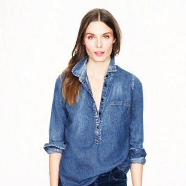 """<p>You'll find no better than in J Crew. It may be pricey but it beats an oversized 'vintage' version from Beyond Retro. Tailored, smart casual and the perfect denim hue. Pair with jeans for a double denim look, or tuck into a leather pencil skirt for a casual working girl vibe.</p><p>Classic chambray popover, £78, <a href=""""http://www.jcrew.com/womens_category/shirtsandtops/denimchambray/PRDOVR~06877/06877.jsp"""" target=""""_blank"""">J Crew</a></p><p><a href=""""http://www.cosmopolitan.co.uk/fashion/news/rihanna-new-face-of-balmain"""" target=""""_blank"""">RIHANNA FOR BALMAIN</a></p><p><a href=""""http://www.cosmopolitan.co.uk/fashion/shopping/christmas-party-dresses-investment"""" target=""""_blank"""">TEN DREAMY PARTY DRESSES</a></p><p><a href=""""http://www.cosmopolitan.co.uk/fashion/news/which-party-dress-colour-works-best"""" target=""""_blank"""">THE BEST COLOURS TO PARTY IN</a></p><p> </p>"""