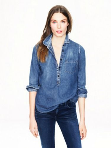 "<p>You'll find no better than in J Crew. It may be pricey but it beats an oversized 'vintage' version from Beyond Retro. Tailored, smart casual and the perfect denim hue. Pair with jeans for a double denim look, or tuck into a leather pencil skirt for a casual working girl vibe.</p> <p>Classic chambray popover, £78, <a href=""http://www.jcrew.com/womens_category/shirtsandtops/denimchambray/PRDOVR~06877/06877.jsp"" target=""_blank"">J Crew</a></p> <p><a href=""http://www.cosmopolitan.co.uk/fashion/news/rihanna-new-face-of-balmain"" target=""_blank"">RIHANNA FOR BALMAIN</a></p> <p><a href=""http://www.cosmopolitan.co.uk/fashion/shopping/christmas-party-dresses-investment"" target=""_blank"">TEN DREAMY PARTY DRESSES</a></p> <p><a href=""http://www.cosmopolitan.co.uk/fashion/news/which-party-dress-colour-works-best"" target=""_blank"">THE BEST COLOURS TO PARTY IN</a></p> <p> </p>"
