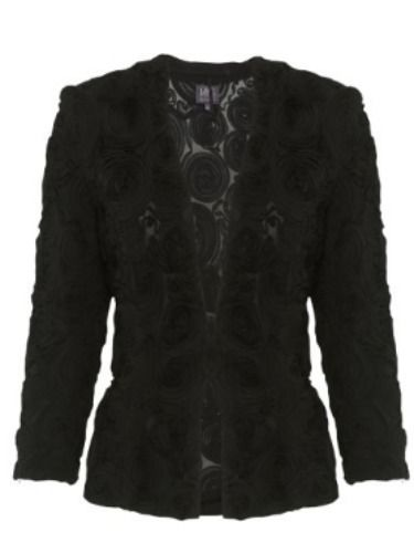 "<p>Rose appliqué jackets are perfect for throwing on over a party dress. This cropped and fitted black version from M&S is a nice cut and super flattering.</p> <p>Rose applique jacket, £59, <a href=""http://www.marksandspencer.com/Collection-Rose-Appliqu%C3%A9-Jacket/dp/B00DH600FO"" target=""_blank"">M&S</a></p> <p><a href=""http://www.cosmopolitan.co.uk/fashion/news/rihanna-new-face-of-balmain"" target=""_blank"">RIHANNA FOR BALMAIN</a></p> <p><a href=""http://www.cosmopolitan.co.uk/fashion/shopping/christmas-party-dresses-investment"" target=""_blank"">TEN DREAMY PARTY DRESSES</a></p> <p><a href=""http://www.cosmopolitan.co.uk/fashion/news/which-party-dress-colour-works-best"" target=""_blank"">THE BEST COLOURS TO PARTY IN</a></p> <p> </p>"