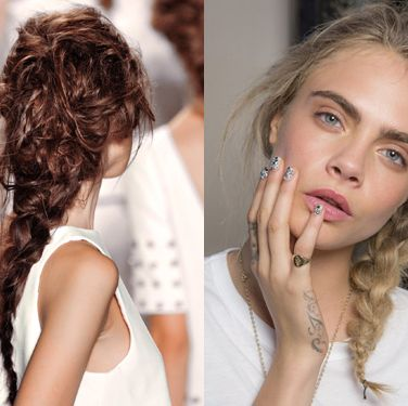 """<p><strong>The look:</strong> Plaits are the tress trend that keeps on coming and we're not complaining. This season they're either glossy or matte, but always messy. Handy for those of us who aren't perfectionists!</p><p><strong>The shows:</strong> Rachel Zoe (left) and Giles (right)</p><p><strong>The tip:</strong> Arm yourself with a cocktail of products for a chalky grip and to seal the shape. At the Giles show they used Label.M Professional Resurrection Style Dust, Miracle Fibre and Extreme Hold Hairspray.</p><p><a href=""""http://www.cosmopolitan.co.uk/beauty-hair/news/trends/spring-summer-2014-beauty-trends"""" target=""""_self"""">SPRING/SUMMER 2014 BEAUTY TREND REPORT</a></p><p><a href=""""http://www.cosmopolitan.co.uk/fashion/shopping/spring-fashion-trends-2014"""" target=""""_blank"""">SPRING/SUMMER 2014 FASHION TRENDS</a></p><p><a href=""""http://www.cosmopolitan.co.uk/beauty-hair/news/styles/celebrity/cosmo-hairstyle-of-the-day"""" target=""""_self"""">COSMO'S CELEBRITY HAIRSTYLE OF THE DAY</a></p>"""