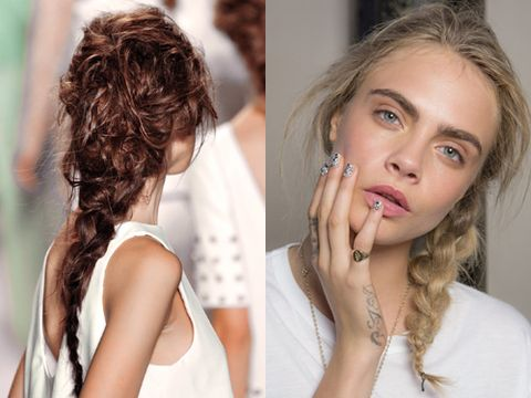 "<p><strong>The look:</strong> Plaits are the tress trend that keeps on coming and we're not complaining. This season they're either glossy or matte, but always messy. Handy for those of us who aren't perfectionists!</p> <p><strong>The shows:</strong> Rachel Zoe (left) and Giles (right)</p> <p><strong>The tip:</strong> Arm yourself with a cocktail of products for a chalky grip and to seal the shape. At the Giles show they used Label.M Professional Resurrection Style Dust, Miracle Fibre and Extreme Hold Hairspray.</p> <p><a href=""http://www.cosmopolitan.co.uk/beauty-hair/news/trends/spring-summer-2014-beauty-trends"" target=""_self"">SPRING/SUMMER 2014 BEAUTY TREND REPORT</a></p> <p><a href=""http://www.cosmopolitan.co.uk/fashion/shopping/spring-fashion-trends-2014"" target=""_blank"">SPRING/SUMMER 2014 FASHION TRENDS</a></p> <p><a href=""http://www.cosmopolitan.co.uk/beauty-hair/news/styles/celebrity/cosmo-hairstyle-of-the-day"" target=""_self"">COSMO'S CELEBRITY HAIRSTYLE OF THE DAY</a></p>"