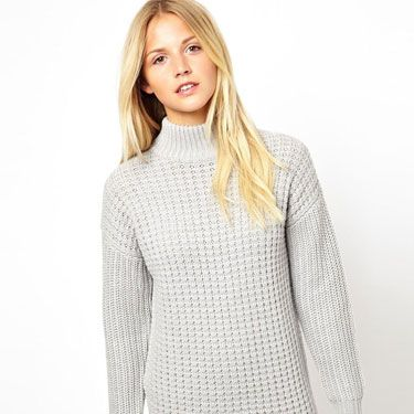 <p>We love a good polo neck here at Cosmo, and this one makes us super happy because it also doubles up as a dress! We love the stitching, the grey marl hue and the waffle knit texture. Pop on a pair of tights and you're good to go.</p>