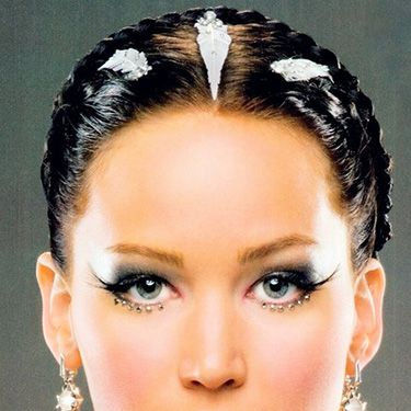 """<p>Not everyone wants to go subtle with their wedding day makeup. The Katniss Everdeen bridal look features smokey eyes, bold flicks and jewels stuck along the lower lashline -  plus silver-leafed, wet look hair. One for the brave!</p><p><a href=""""http://www.cosmopolitan.co.uk/fashion/news/kaley-cuoco-wedding-dress"""" target=""""_blank"""">KALEY CUOCO'S PINK WEDDING DRESS</a></p><p><a href=""""http://www.cosmopolitan.co.uk/beauty-hair/news/trends/celebrity-beauty/best-wedding-makeup-tips-celebrity-makeup?click=main_sr"""" target=""""_blank"""">WEDDING MAKEUP WE WANT TO COPY</a></p><p><a href=""""http://www.cosmopolitan.co.uk/fashion/shopping/top-ten-wedding-dresses-on-film?click=main_sr"""" target=""""_blank"""">TOP TEN WEDDING DRESSES ON FILM</a></p>"""