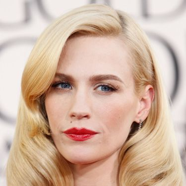<p>Looking like a strong, modern day Marilyn Monroe, January's power pair of statement brows and lips worked perfectly with her retro down-do.</p>