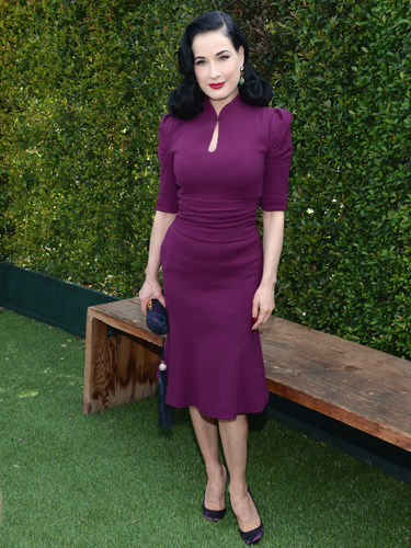 "<p>Basically, Dita von Teese can do no wrong - and this purple Carolina Herrera dress is no exception, showcasing that infamous weeny waist a treat. Styled with matching Loubs and her trademark red lips, our love affair with DVT is still going strong.</p> <p><a href=""http://www.cosmopolitan.co.uk/fashion/love/"" target=""_blank"">VOTE ON CELEBRITY STYLE</a></p> <p><a href=""http://www.cosmopolitan.co.uk/fashion/shopping/womens-clothing-under-ten-pounds"" target=""_blank"">SHOP WOMEN'S FASHION FOR £10 OR LESS</a></p> <p><a href=""http://www.cosmopolitan.co.uk/fashion/celebrity/"" target=""_blank"">SEE THE LATEST CELEBRITY TRENDS</a></p>"