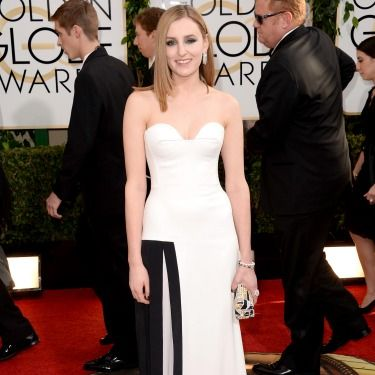 """<p>We hardly recognise Laura Carmicheal - aka Downton Abbey's Lady Edith - in this strapless, monochrome number. Doing it for the Brits!</p><p><a href=""""http://www.cosmopolitan.co.uk/beauty-hair/news/trends/celebrity-beauty/best-golden-globes-hair-makeup-beauty"""" target=""""_blank"""">BEST GOLDEN GLOBES BEAUTY EVER</a></p><p><a href=""""http://www.cosmopolitan.co.uk/fashion/celebrity/best-golden-globes-dresses-ever"""" target=""""_blank"""">REMEMBER THESE GOLDEN GLOBES DRESSES?</a></p><p><a href=""""http://www.cosmopolitan.co.uk/fashion/celebrity/best-dressed-celebrities-10-january"""" target=""""_blank"""">THIS WEEK'S BEST DRESSED CELEBRITIES</a></p>"""
